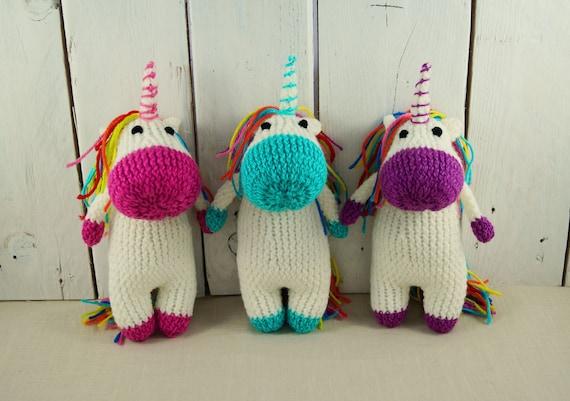 Unicorn Brei Gebreide Paard Teddy Zacht Stuk Speelgoed Etsy