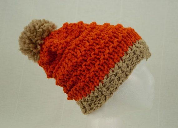 5bd43d75c16 Orange wool hat Chunky knit beanie Orange fall hats Orange