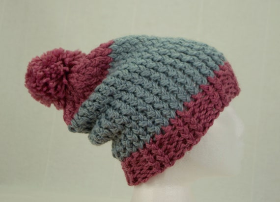 8703f6b480ff5 Pink and Grey super chunky hat Winter hats for women Merino