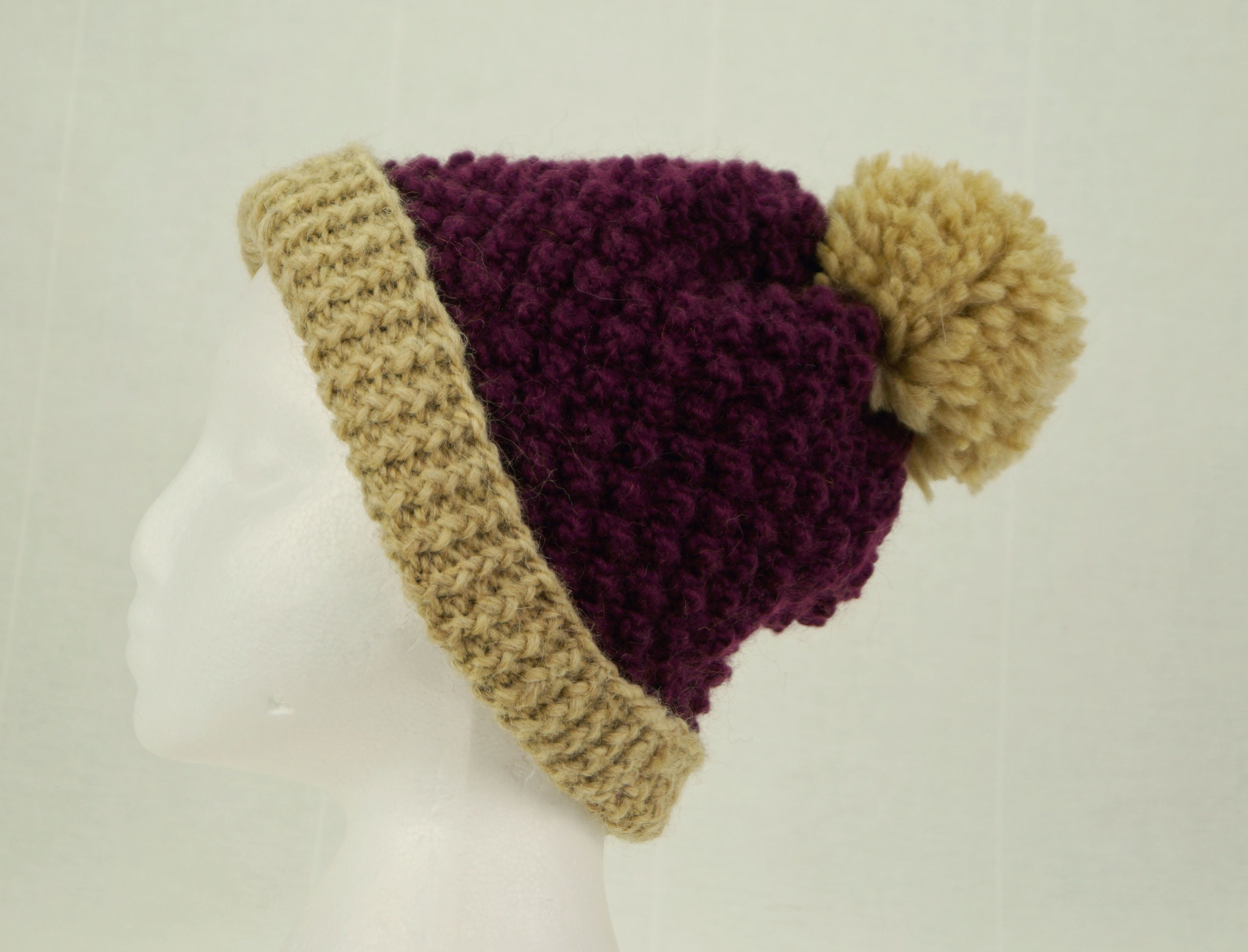 d98d4211cd8 Knitted purple hat Chunky knit beanie Lambswool knit hat