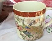 Vintage Satsuma Japan Porcelain Peacocks in Garden Mug Or Cup