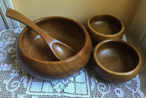 Teak Wooden Salad Bowl Set Gailstyn Sutton 4 Piece Vintage Etsy