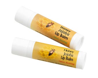 2 pack, Artisan Jojoba Lip Balm Honey in Tube .15 oz, mildly scented with added raw Honey, All Natural and Hand Made