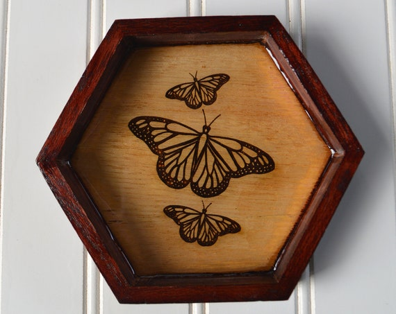 Butterfly Tray with Laser Engraved Design, Clear Resin and Mahogany Stain