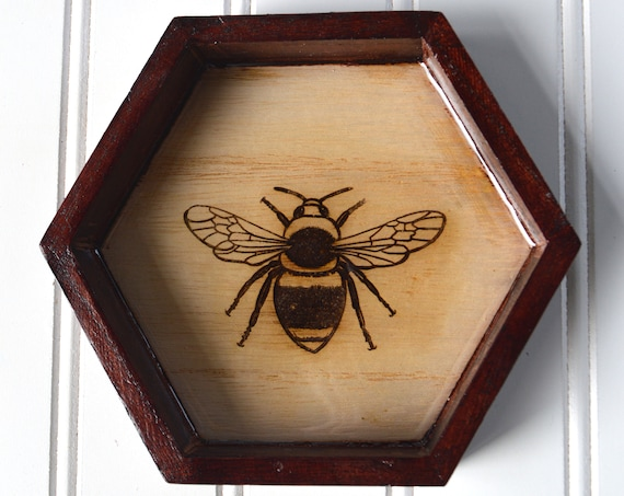 Bumblebee Tray with Laser Engraved Design, Clear Resin and Mahogany Stain