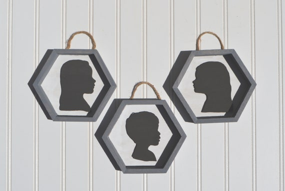 Children's Profile Silhouette. 3d Laser Cut Out, Mounted on a Hexagon Frame.