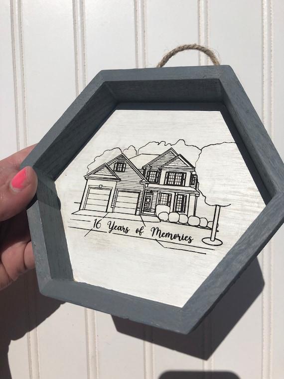 Custom House Illustration. Digitally Drawn, Laser Engraved on a Hexagon Frame. Gift wrap included!!