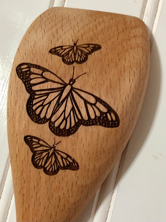 Butterfly spring design on Flat Edge Wooden Spoon. Personalized for gifts or favors. Gift Wrap Included!!