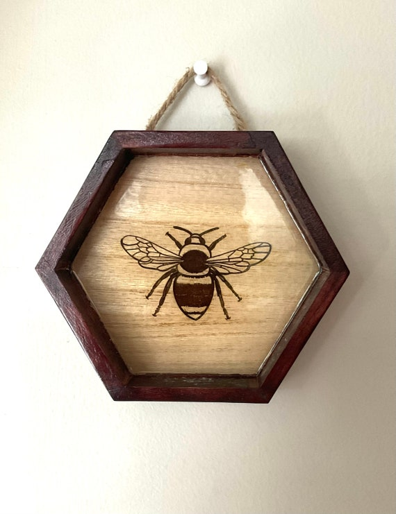 Hanging Bumblebee Honeycomb. Laser engraved, Clear Resin and Mahogany Stain