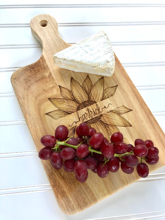 Sunflower Split Family Name Serving Board for Bread, Cheeses and Fruit