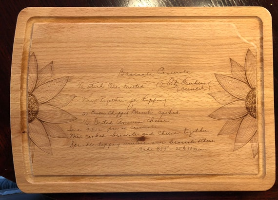 Handwritten Family Recipe Serving Board with Sunflowers