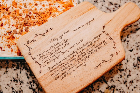 Handwritten Family Recipe engraved on Serving Board for Bread, Cheeses and Fruit.
