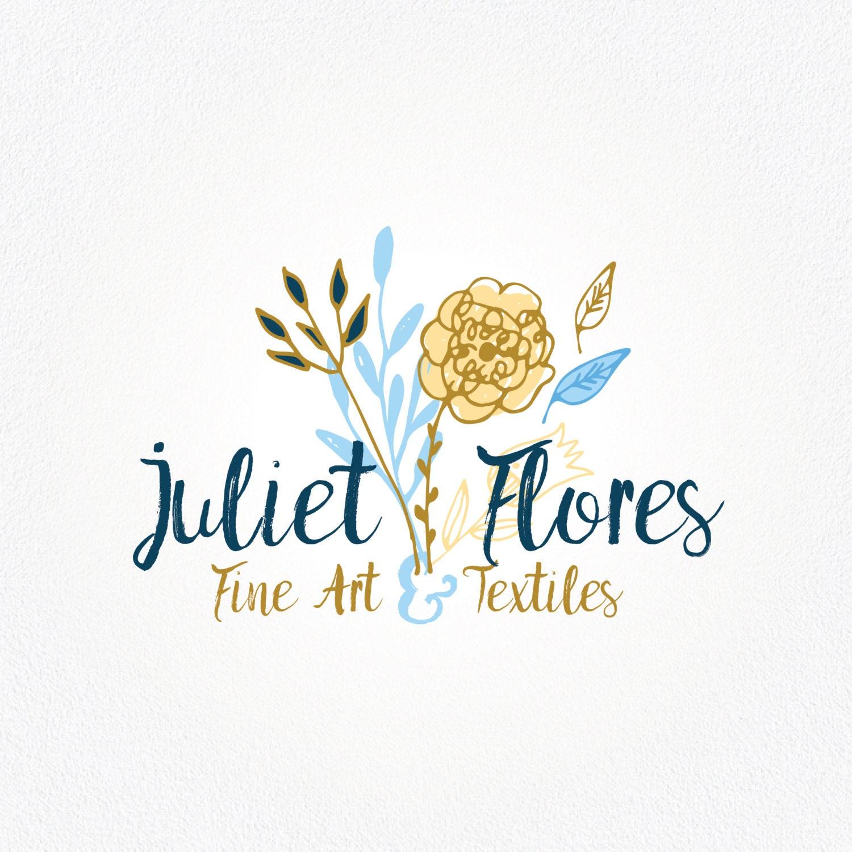 Yellow Flower Logo Design Blue And Gold Logo Floral Logo Etsy