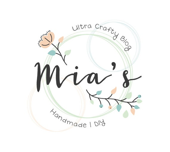 Floral Logo Design Craft Logo Flower Logo Crafty Logo Etsy