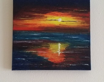 "Sunset - Oil on canvas with a palette knife -  10"" x 10"" gallery wrapped canvas"