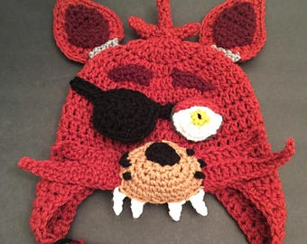 Crochet Five Nights At Freddy's FNAF Foxy Inspired Hat PATTERN