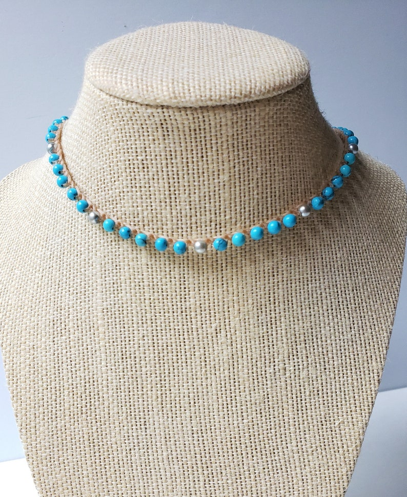 Turquoise Crochet Necklace Gold Silver Boho Hippie classy Turquoise Necklace