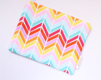 zippered pouch, clutch, wallet, multi color chevron pouch, purse organizer, bridesmaids gift, id pouch, colorful pouch