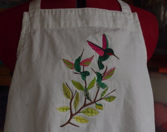 Hummingbird apron (embroidered), spinners apron, Mother's day present, wedding/shower gift
