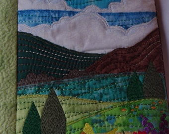 Summer landscape Quilted handbag/embroidered scenery
