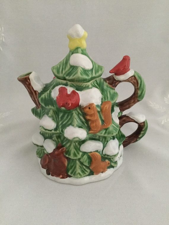 Garden Ridge Christmas Trees.Garden Ridge 3 Piece Teapot Cup Holiday Ceramic Christmas Pine Tree W Animals And Snow