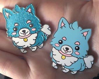 Cotton Candy Pomeranian Kawaii Anime Enamel Pin Lapel Pin Pastel Harajuku Aesthetic Anime Trash Glitter Fairykei by Street Cherub