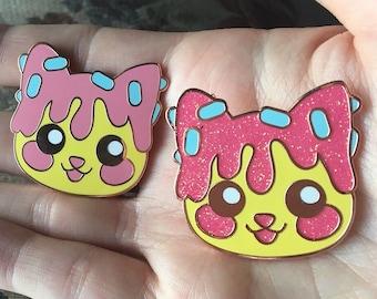 Doneko Donut Cat Kawaii Anime Enamel Pin Lapel Pin Pastel Harajuku Aesthetic Anime Trash Kitty Glitter Rose Gold Fairykei by Street Cherub
