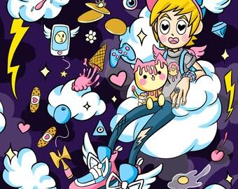 Street Cherub Art Prints Kawaii Anime Magical Girl Galaxy Harajuku Angel Demon Pastel Goth Ice Cream Cherry Blossom Cute Poster Artwork