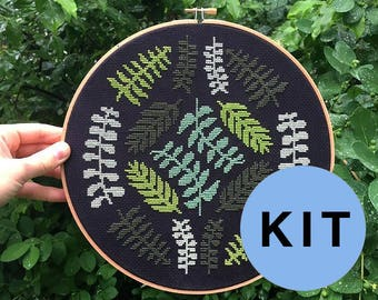 Ferns - modern cross stitch kit