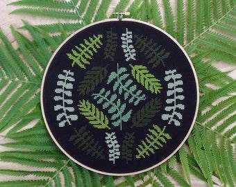 Ferns - Modern cross stitch pattern PDF - Instant download