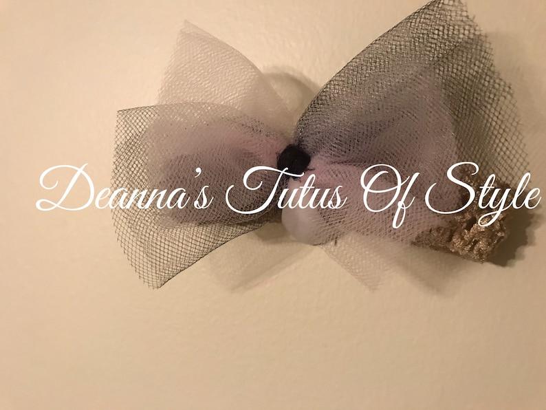 Birthday Tutu Set Black Tutu With Light Pink And Black Tulle Bow Headband Size 0-5T Smash Cake Tutu Set