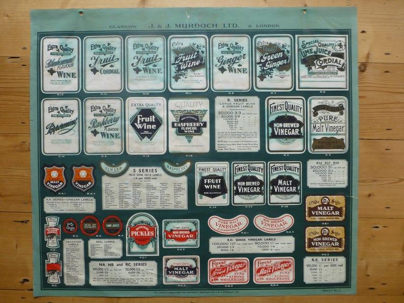 J /& J Murdoch Ltd Soft Drinks Label Poster Page 11 from /'Labeldom/' Catalogue C.1930s