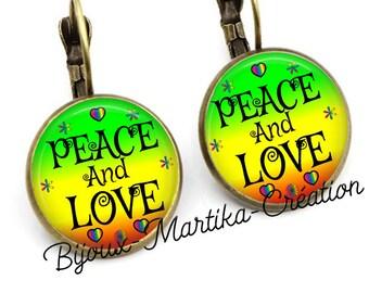 Earrings peace and love bronze sleeper