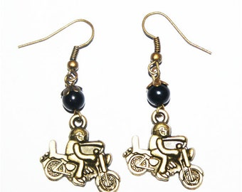 The biker bronze metal earring