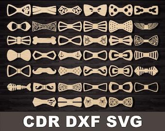 Bow tie for men svg pattern, laser cut, Laser files DXF CDR vector plans, files Instant download, cnc pattern, die cut cnc cut Wedding bow