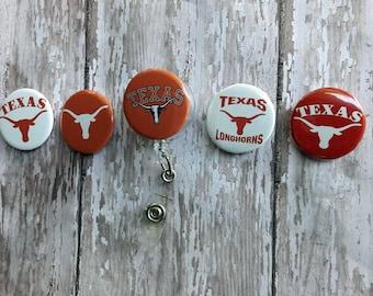 Texas Longhorns Retractable Reel ID Badge Lanyard Clip Nursing Scrubs #3