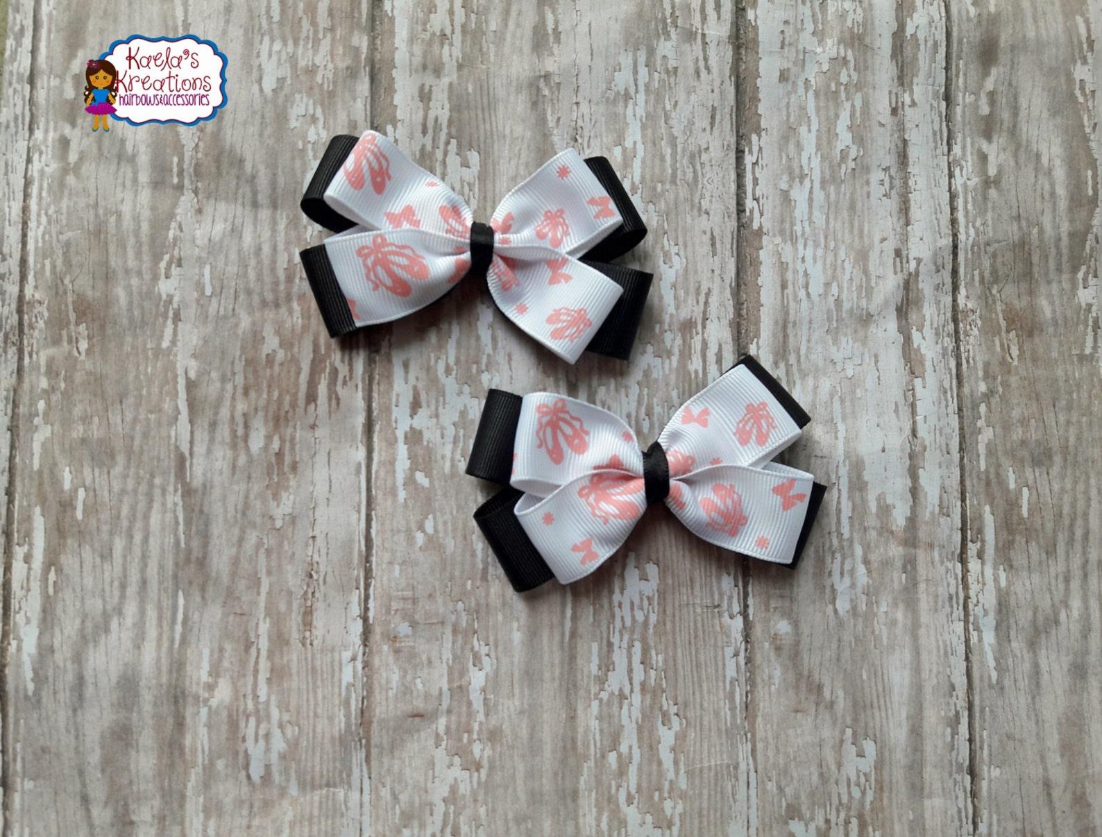 ballet hair bows,pink and black ballet hair bows,ballet bows,black and pink ballet hair bows,ballet clips,ballet