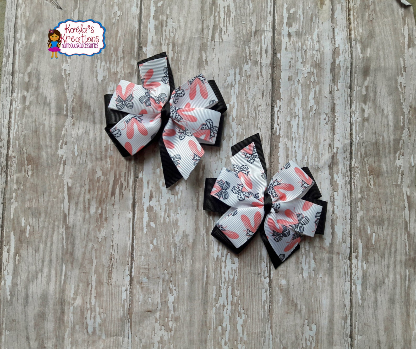 ballet hair bows,ballet bows,pink and black ballet hair bows,black and pink ballet hair bows,ballet.