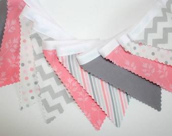 Fabric Banner, Fabric Flags, Nursery Decor, Birthday Decoration, Pink, Grey, Light, Chevron, Stripes, Polka Dots
