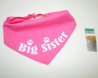 Dog BANDANA, Custom Dog Bandana, Baby Announcement, Big Sister, Glitter Bandana, Personalized Dog Bandana, Dog Scarf, Pink, Glitter Vinyl