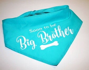 Dog BANDANA, Personalized Dog Bandana, Big Brother, Big Sister, Pregnancy Announcement , Dog, Custom Name, Green, Blue, Pink, Red, Black