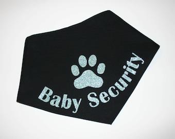 Dog BANDANA, Personalized Dog Bandana, Custom Dog Bandana, Big Brother, Dog Scarf, Black, Glitter Vinyl