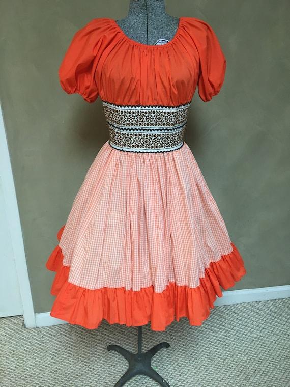 70s Jeri Bee Ruffle Puff Sleeve Square Dance Dress Vintage White Orange Boho Rockabilly Western Mini Dress Medium