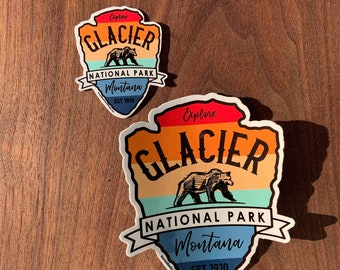 STICKER 1 Glacier National Park | Montana | Grizzly Bear | Waterproof | Two Sizes available  | FREE Shipping