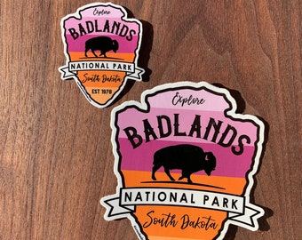 STICKER 1 Badlands National Park | South Dakota | Bison Buffalo | Waterproof | Two Sizes available  | FREE Shipping