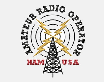 radio operator etsy Radio Holster Strap ham radio operator embroidery design instant digital download