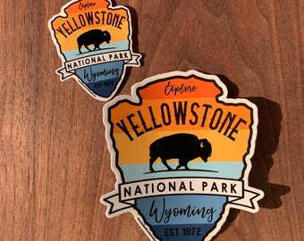 STICKER 1 Yellowstone National Park | Wyoming | Bison | Waterproof | 2 sizes available  | FREE Shipping