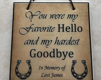 Horse Memory Sign Etsy