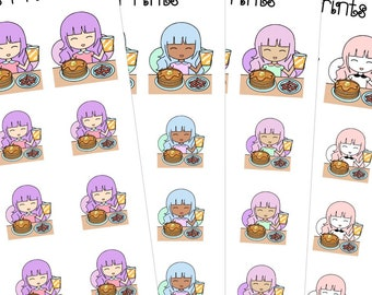 Fairies Pancakes Breakfast Food Hand Drawn Planner Stickers ( C49 S49 L49 B49)