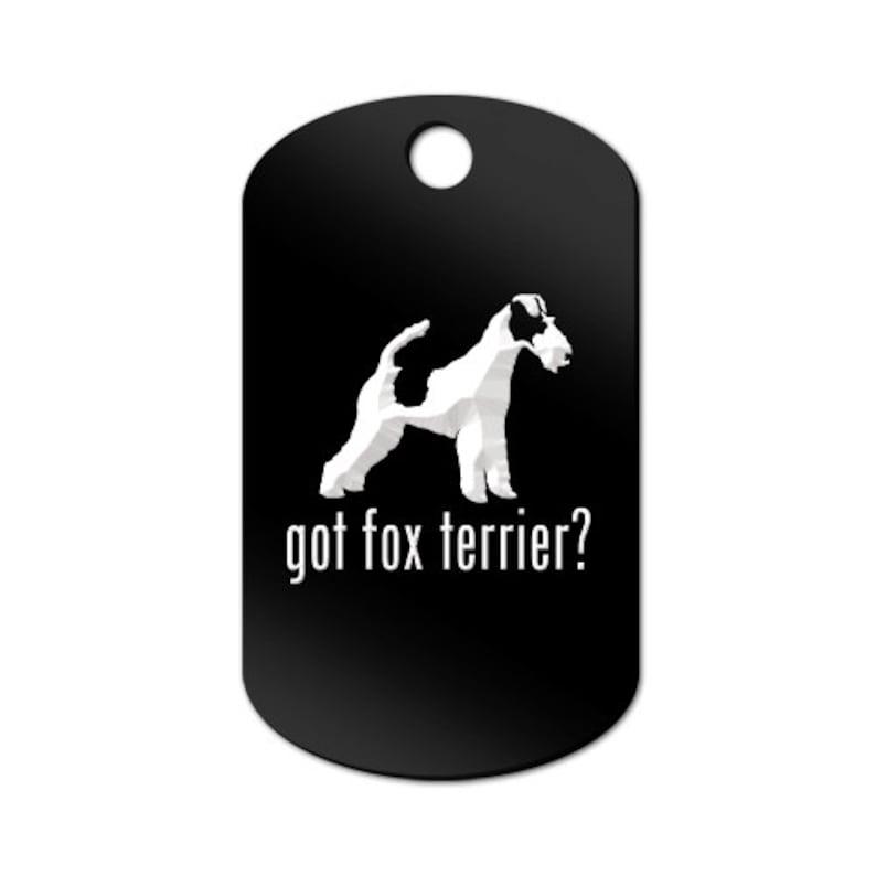 MDT-771 Got Fox Terrier Engraved GI Tag Key Chain Dog Tag smooth wire